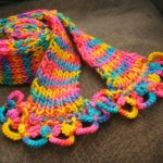 scarf with knitting and yarn tatting